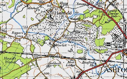 Old map of Worten in 1940