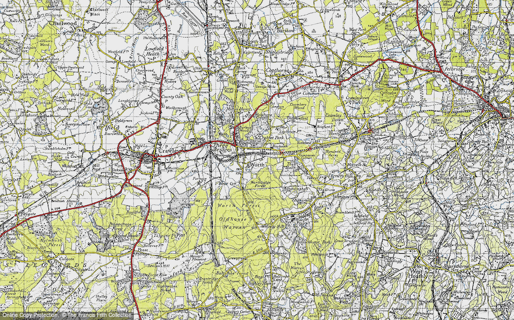 Old Map of Worth, 1940 in 1940