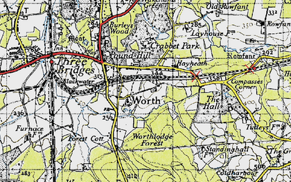 Old map of Worth Hall in 1940
