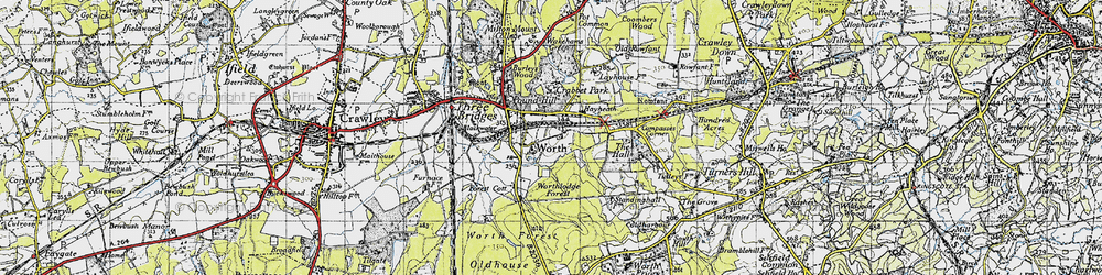 Old map of Worth in 1940