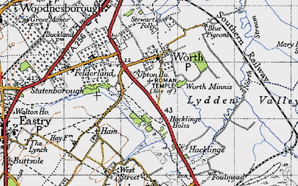 Old map of Worth in 1947