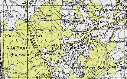 Old map of Worth Abbey in 1946