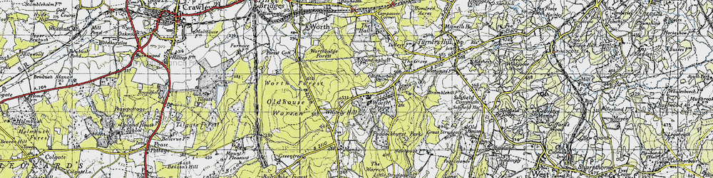 Old map of Whitely Hill in 1946