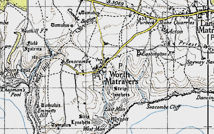 Old map of Worth Matravers in 1940