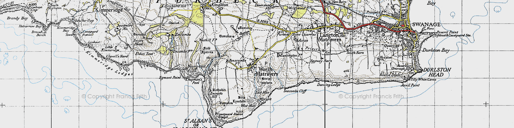 Old map of Winspit in 1940