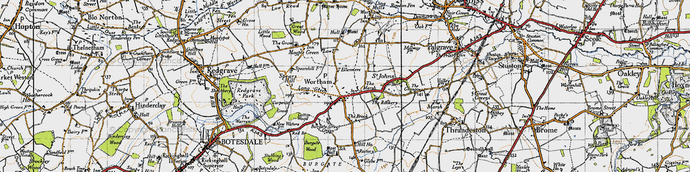 Old map of Wortham in 1946