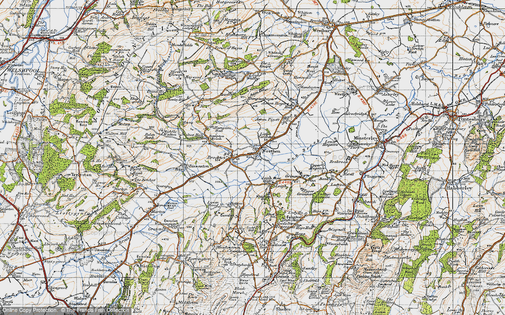 Old Map of Worthen, 1947 in 1947