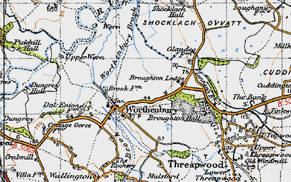 Old map of Worthenbury in 1947