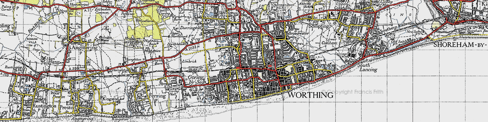 Old map of Worthing in 1940