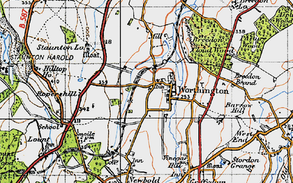 Old map of Worthington in 1946