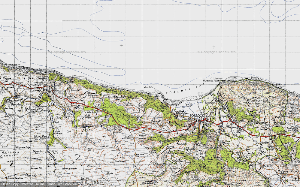 Old Map of Historic Map covering Yearnor Wood in 1946