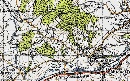 Old map of Treowen in 1946
