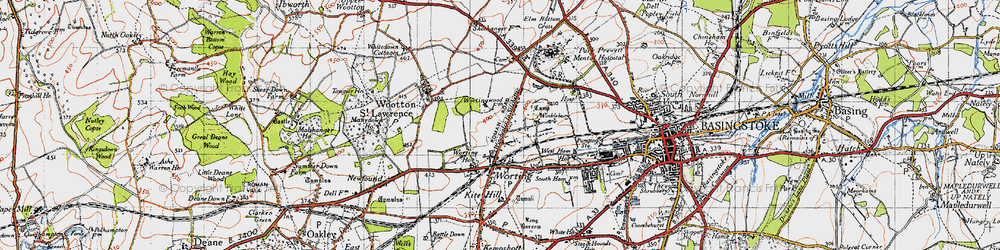 Old map of Worting in 1945