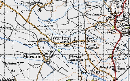 Old map of Worton in 1940