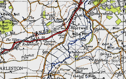 Old map of Wortwell in 1946