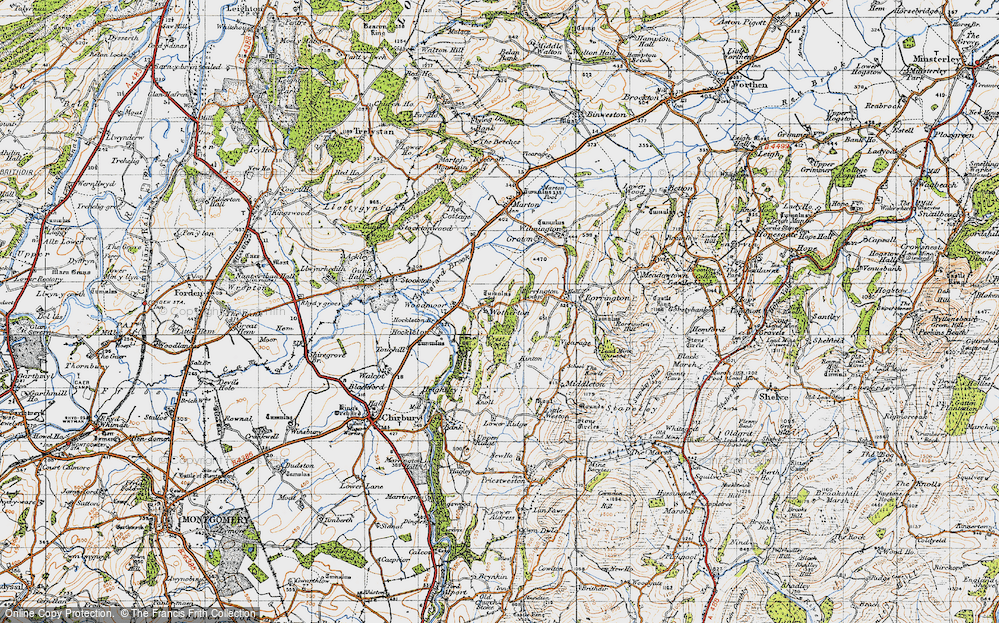 Old Map of Historic Map covering Woodmoor in 1947