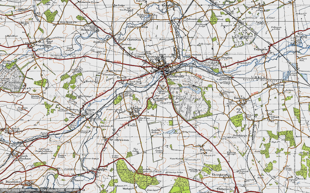 Old Map of Historic Map covering Wothorpe Ho in 1946