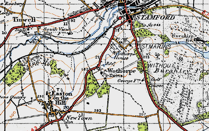 Old map of Wothorpe Ho in 1946