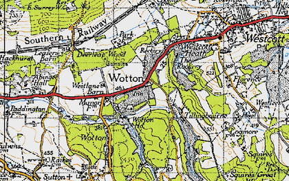 Old map of Wotton in 1940