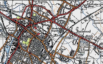 Old map of Wotton in 1947