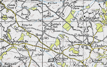 Old map of Wotton Cross in 1946