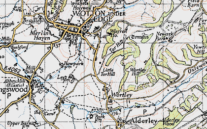 Old map of Wortley Hill in 1946