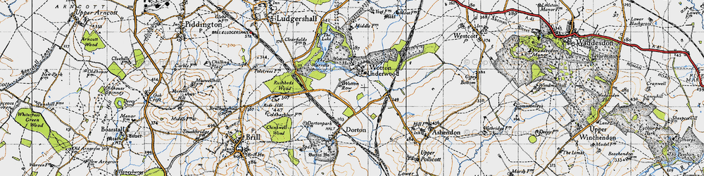 Old map of Wotton Underwood in 1946