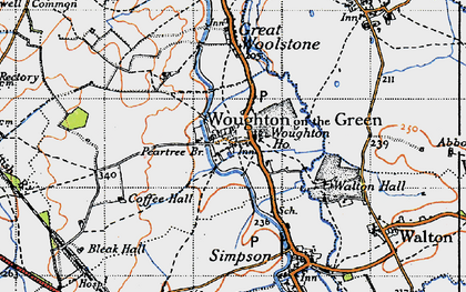 Old map of Woughton on the Green in 1946