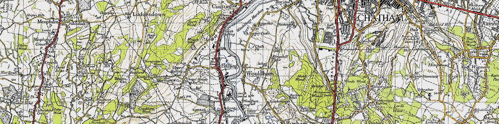 Old map of Wouldham in 1946