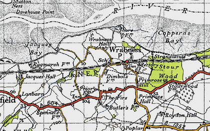 Old map of Wrabness in 1946