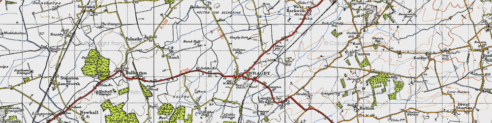 Old map of Wragby in 1946