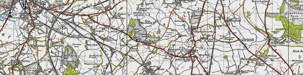 Old map of Wragby in 1947