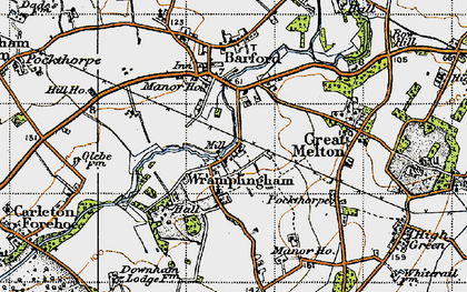 Old map of Wramplingham in 1945