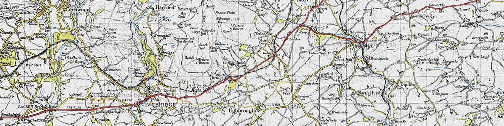 Old map of Wrangaton in 1946
