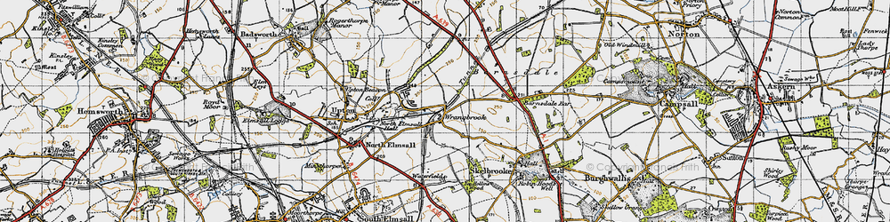 Old map of Wrangbrook in 1947