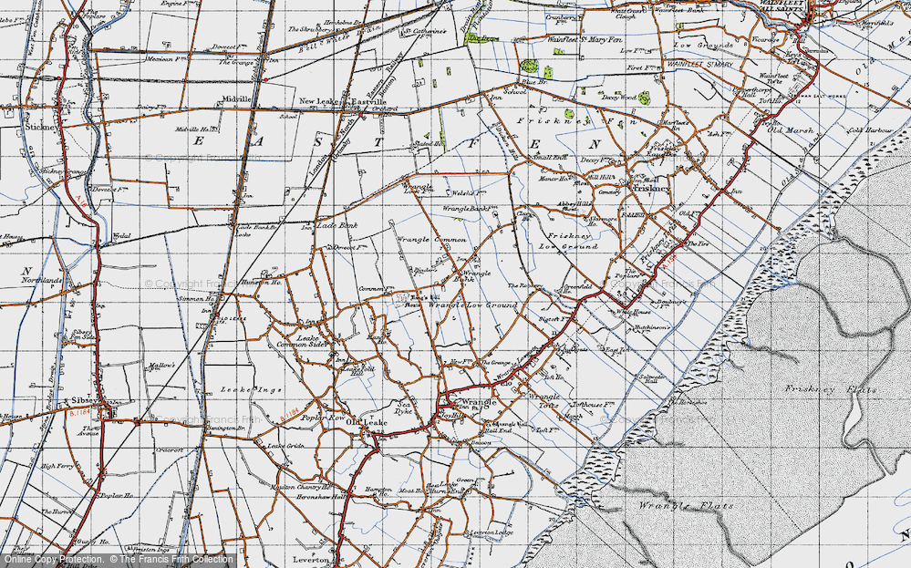 Old Map of Historic Map covering Wrangle Common in 1946