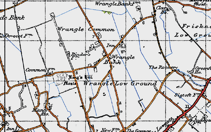 Old map of Wrangle Common in 1946