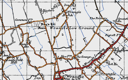 Old map of Wrangle Low Ground in 1946