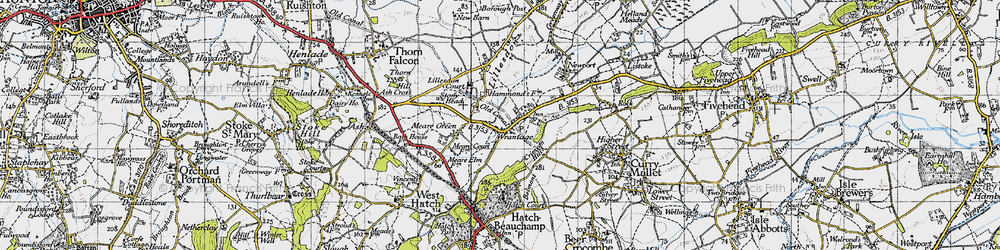 Old map of Wrantage in 1945