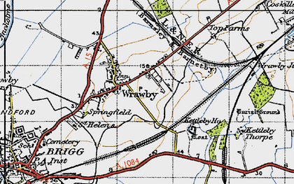 Old map of Wrawby in 1947