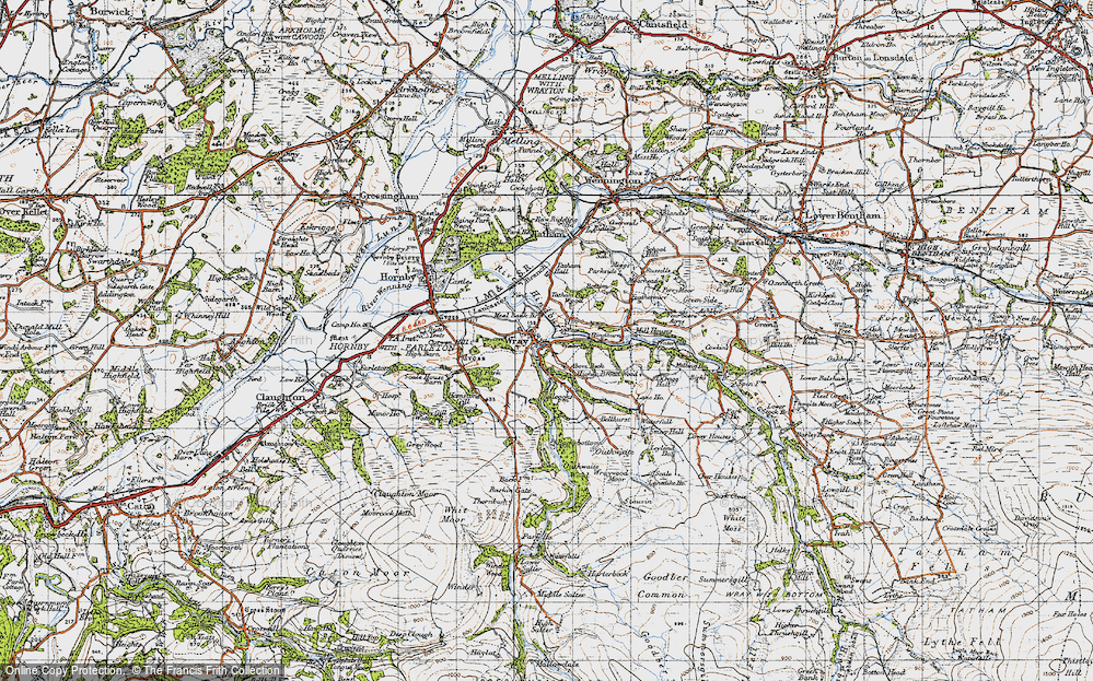 Old Map of Historic Map covering Above Beck in 1947