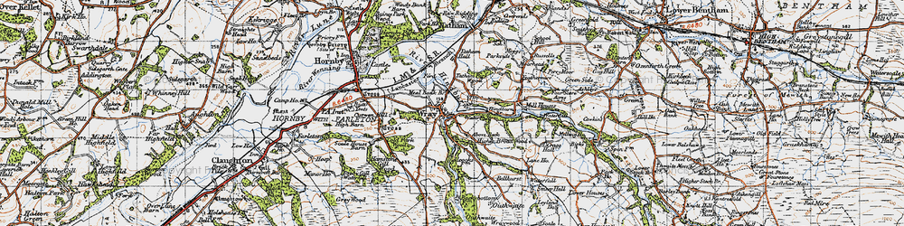 Old map of Above Beck in 1947