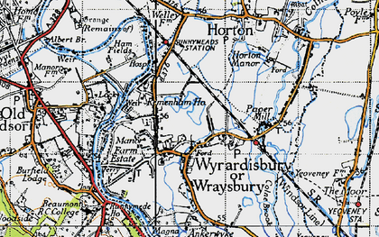Old map of Wraysbury in 1945