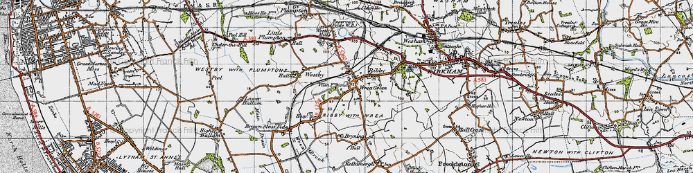 Old map of Wrea Green in 1947