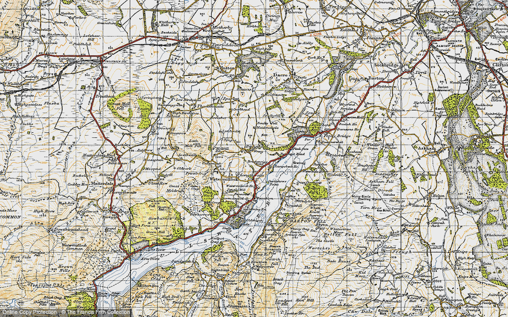 Old Map of Historic Map covering Tongue in 1947