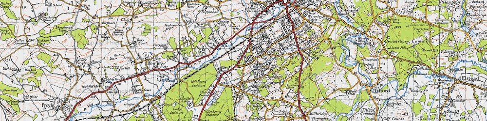 Old map of Wrecclesham in 1940
