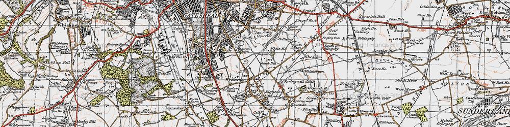Old map of Wrekenton in 1947