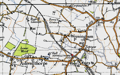 Old map of Wreningham in 1946