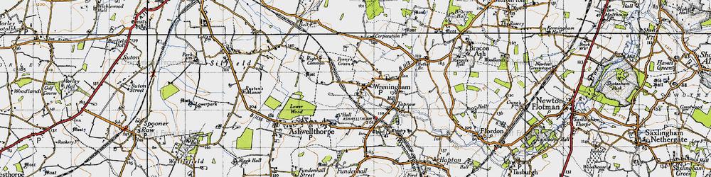 Old map of Wreningham in 1946