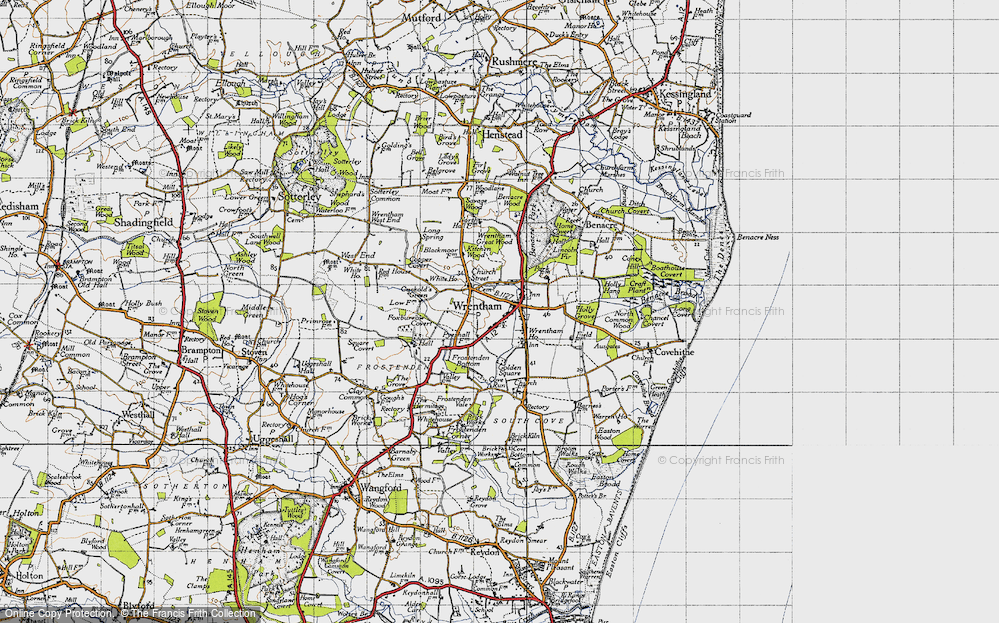 Old Map of Wrentham, 1946 in 1946